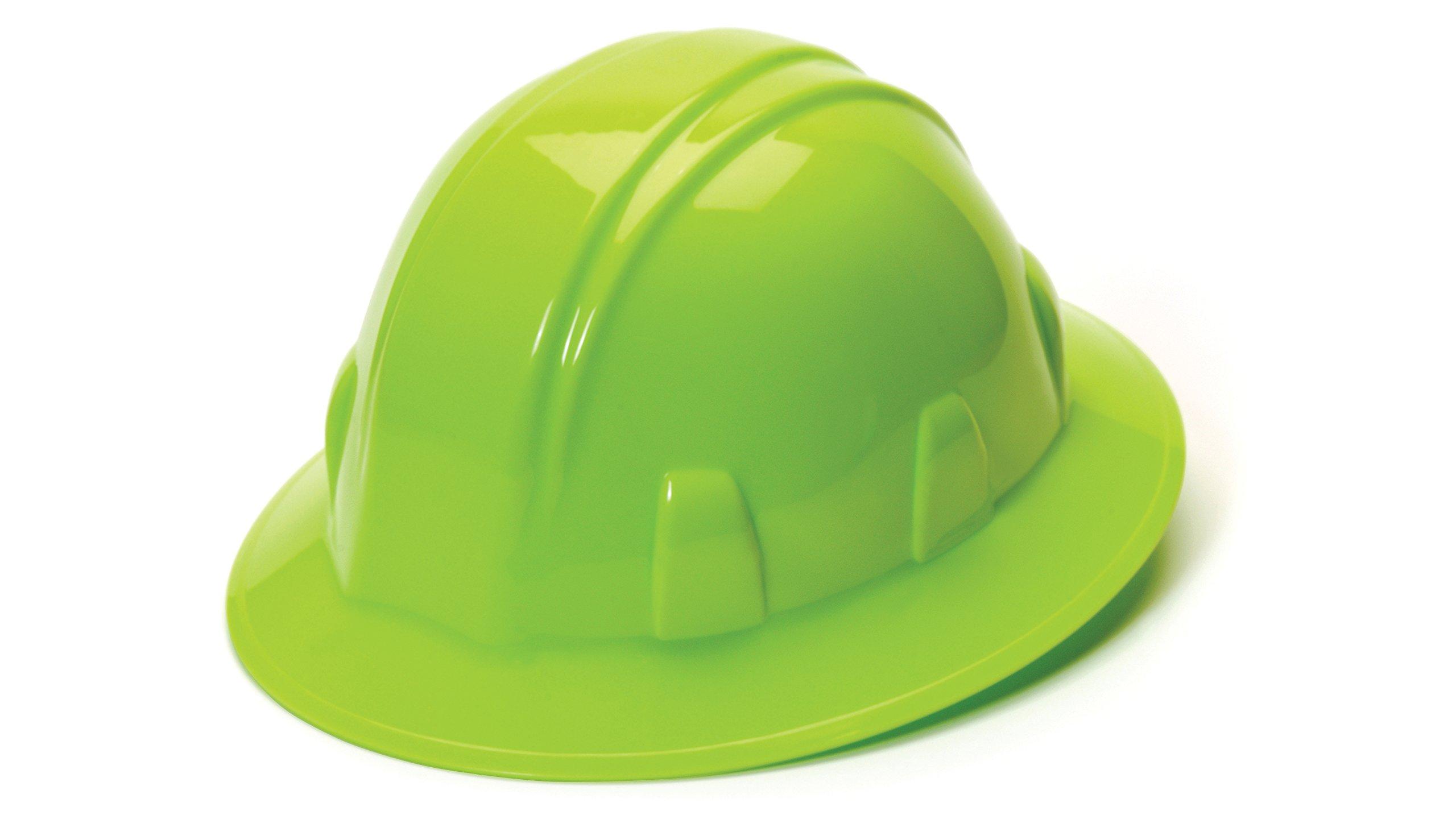 Pyramex Full Brim Ratchet Suspension Hard Hat, Hi Vis Lime, 4 Point Ratchet Suspension