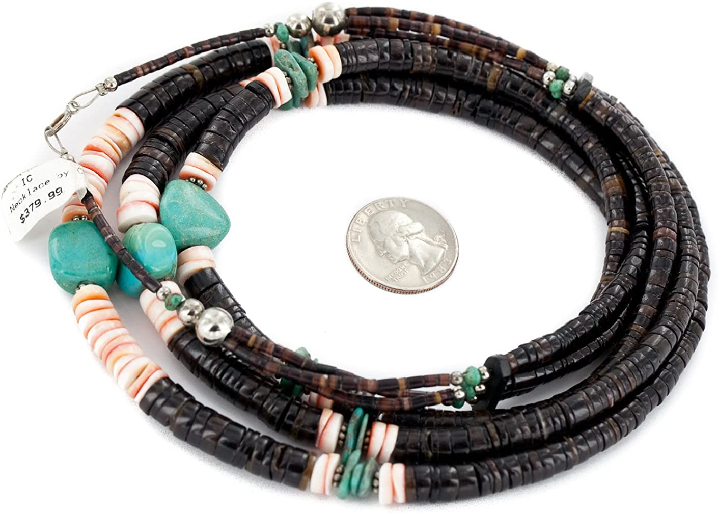$380 Retail Tag 3 Strand Authentic Made by Charlene Little Silver Navajo Natural Graduated Heishi Spiny Oyster and Turquoise Native American Necklace