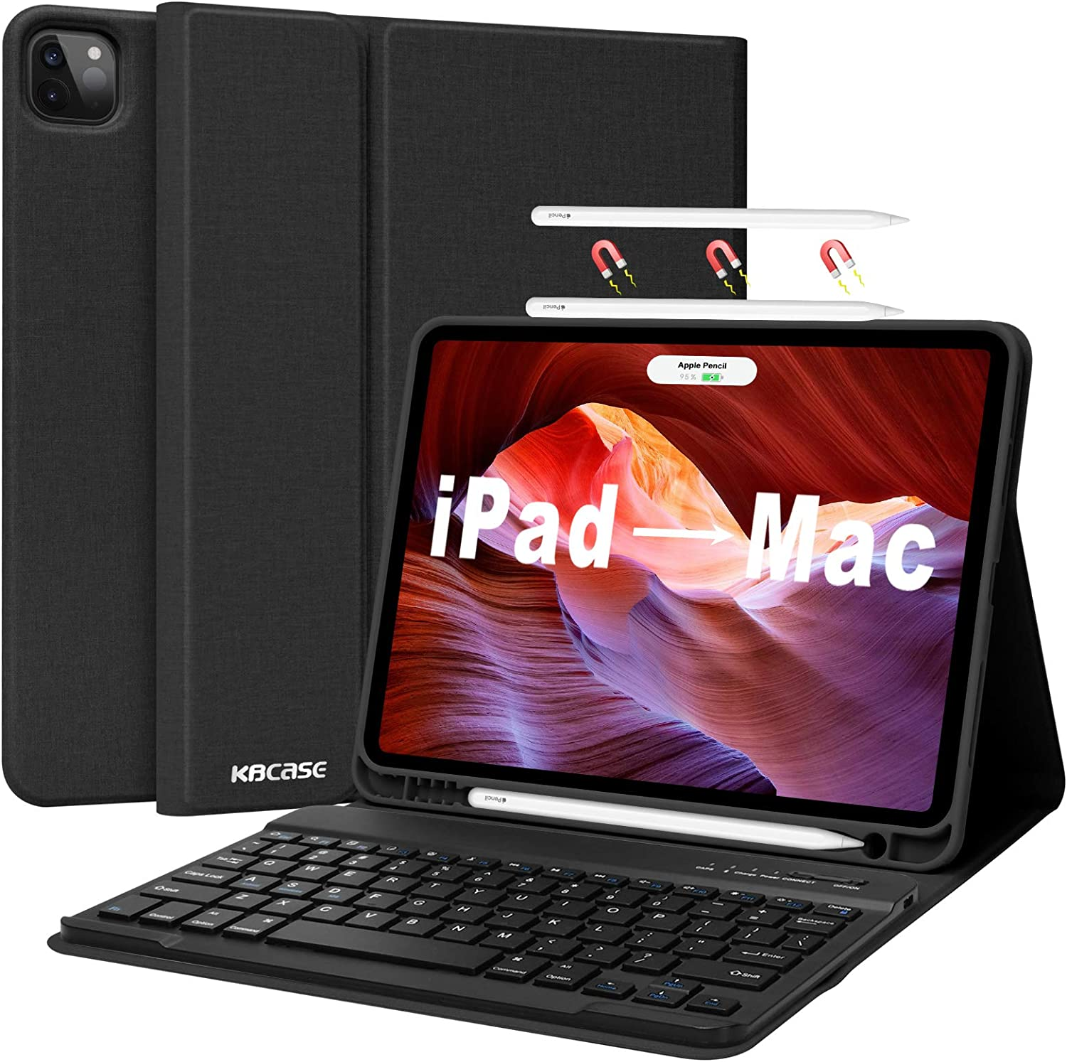 """iPad Case with Keyboard for iPad Pro 11 2021 (3rd Generation), iPad Pro 11 Keyboard Case 2020 2018, Detachable Bluetooth Keyboard with Pencil Holder for iPad 10.9 Air 4th Gen/iPad 11"""" 1st 2nd 3rd"""