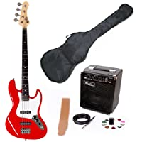 Lindo High Gloss Red ZJB Series Electric Bass Guitar & EBG15-FP Amplifier Pack