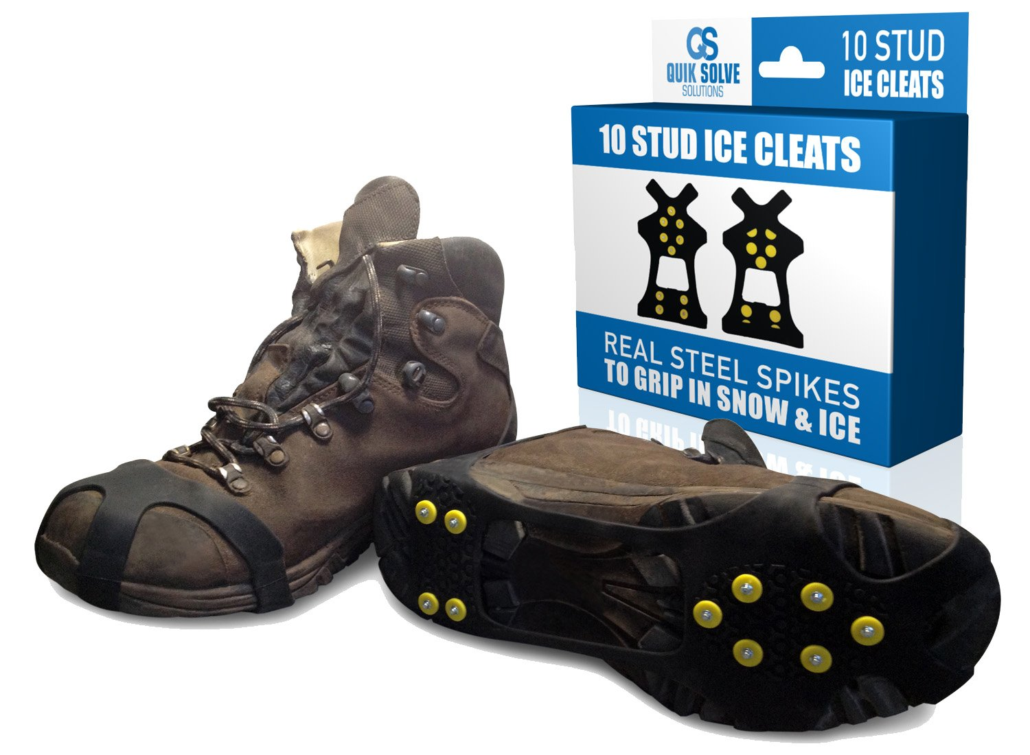 Quik Solve Ice Snow Traction Shoe Boot Cleats - No Slip Gripper Spikes