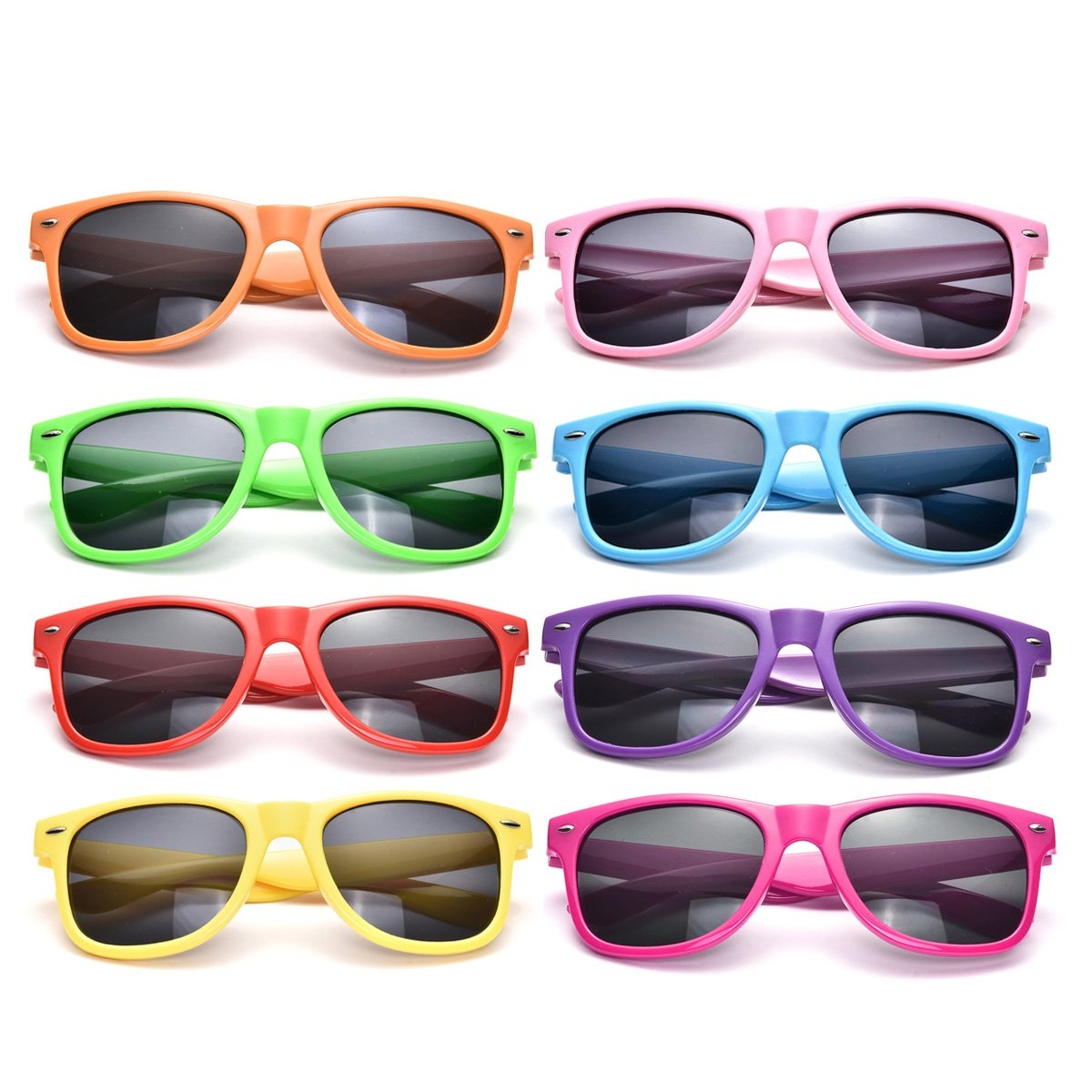 Neon Colors Party Favor Supplies Unisex Sunglasses Pack of 8 for Kids (8 Pack Mix) by Pibupibu (Image #3)