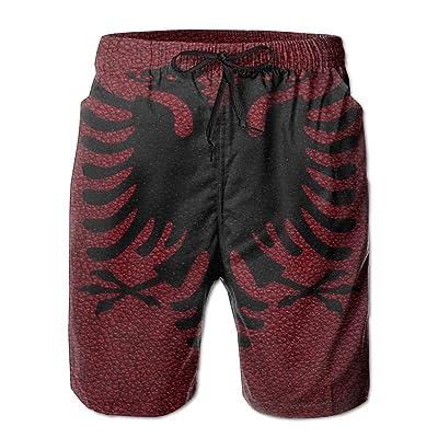 HFSST Leather Pattern Albanian Flag EuropeHandsome Fashion Summer Cool Shorts Swimming Trunks Beachwear Beach Shorts