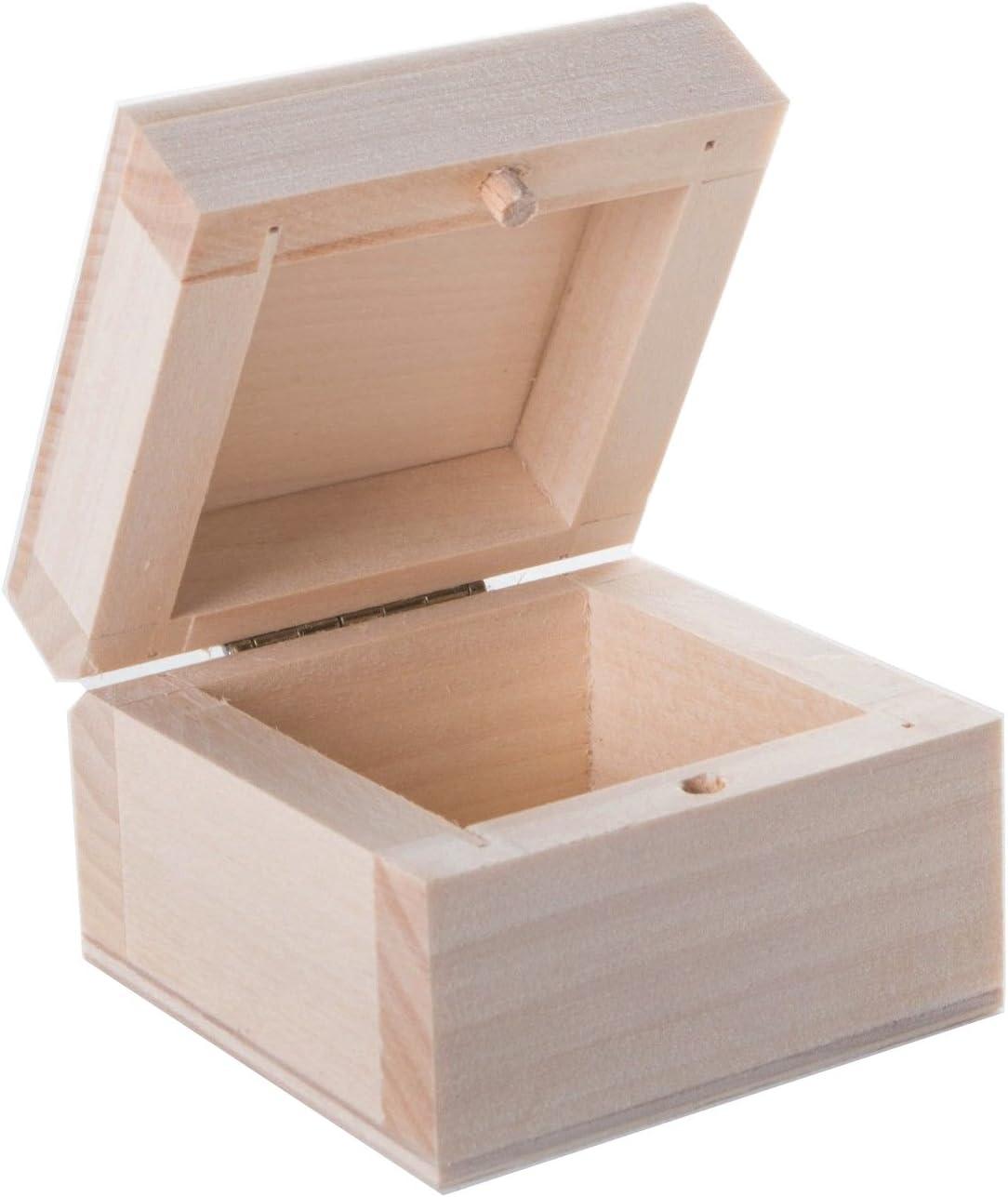 Pequeña Caja de Almacenamiento de Madera con Tapa, sin Pintar, Caja de Anillos, 6,5 x 6,5 x 4,5 cm: Amazon.es: Hogar