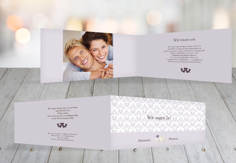 Kartenparadies Hochzeitskarte Einladung Ornament mit Herz, hochwertige Einladung zur Heirat inklusive Umschläge   10 Karten - (Format  215x105 mm) Farbe  Rosadunkellila B01N7UEX07 | Große Ausverkauf  | Gute Qualität  | Schön In Der Farbe