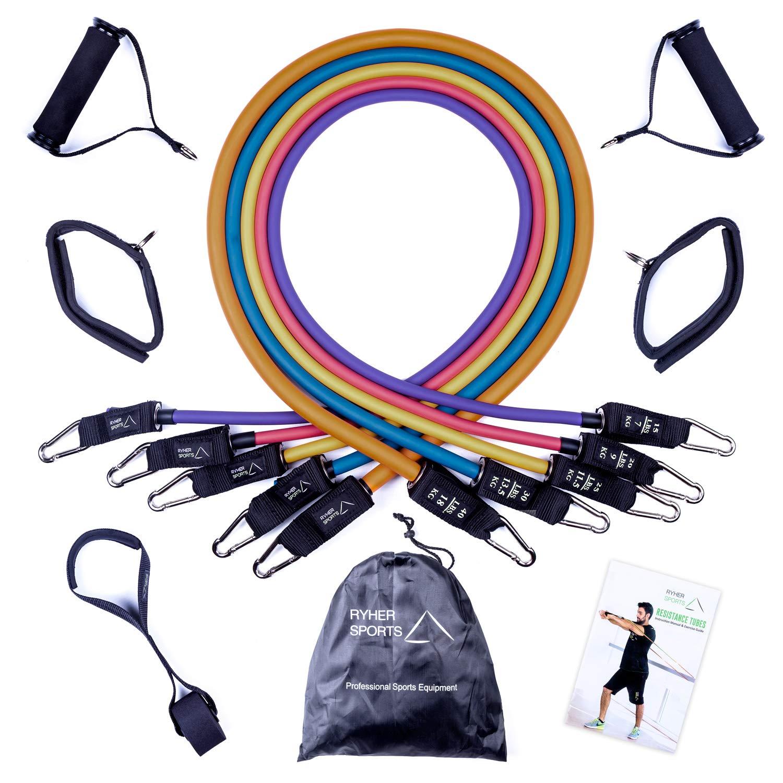 Ryher Gomas elásticas Fitness y Ejercicio - Kit de 5 Bandas de Resistencia Extra Fuertes con