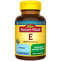 Nature Made Vitamin E 450 mg (1000 IU) dl-Alpha Softgels, 60 Count for Antioxidant Support