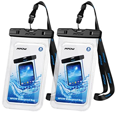 Mpow Universal Waterproof Case, IPX8 Waterproof Phone Pouch Dry Bag Compatible for iPhone Xs Max/XS/XR/X/8/8P/7/7P Galaxy up to 6.0 , Protective Pouch for Pools Beach Kayaking Travel or Bath (2-Pack)
