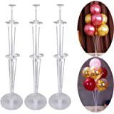 Balloon Stand Holder Kit,Ballon Column Stand Including 21 Sticks 21 Cups and 3 Base Table Desktop Holder Durable and Reusable