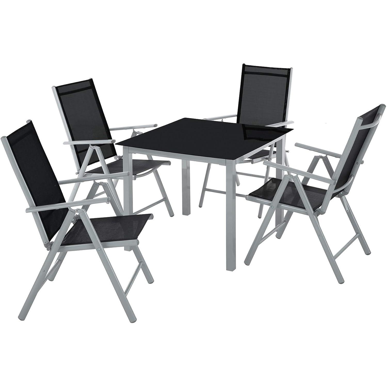 TecTake Aluminium Sitzgarnitur 4+1 Sitzgruppe Gartenmöbel Tisch & Stuhl Set - Diverse Farben - (Silber grau   Nr. 402169)