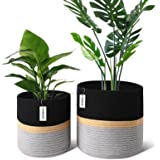 """Harrage Rope Cotton Plant Basket for Flower Pot, Sturdy Woven Pots for Indoor Plants, Luxury 10"""" & 12"""" Inch Plant Pot with Ha"""