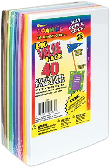"2 Pack Sticky Back Foam Sheets Value Pack 6/""X9/"" 40//Pkg-Assorted Colors"