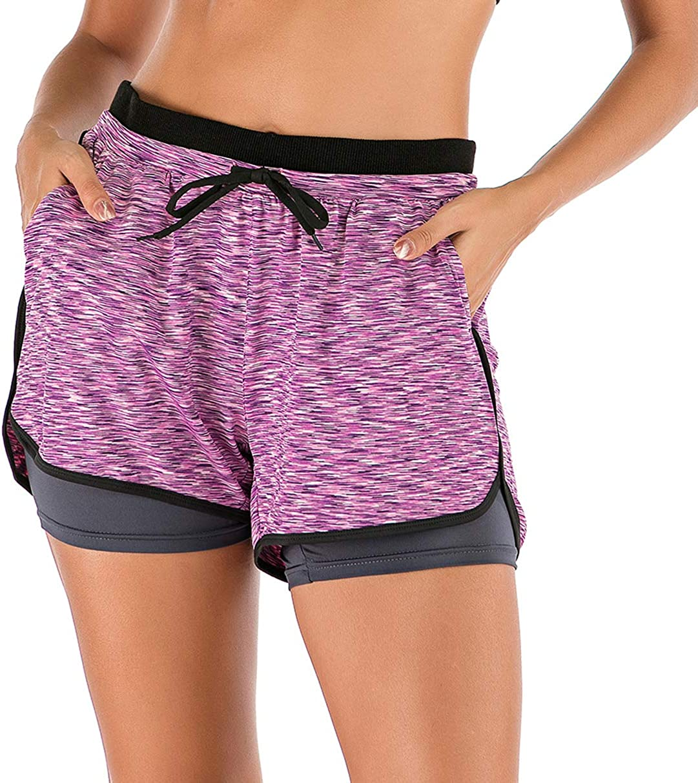 Lelinta Women Workout Fitness Running Shorts Double Layer Active Yoga Gym Sport Shorts