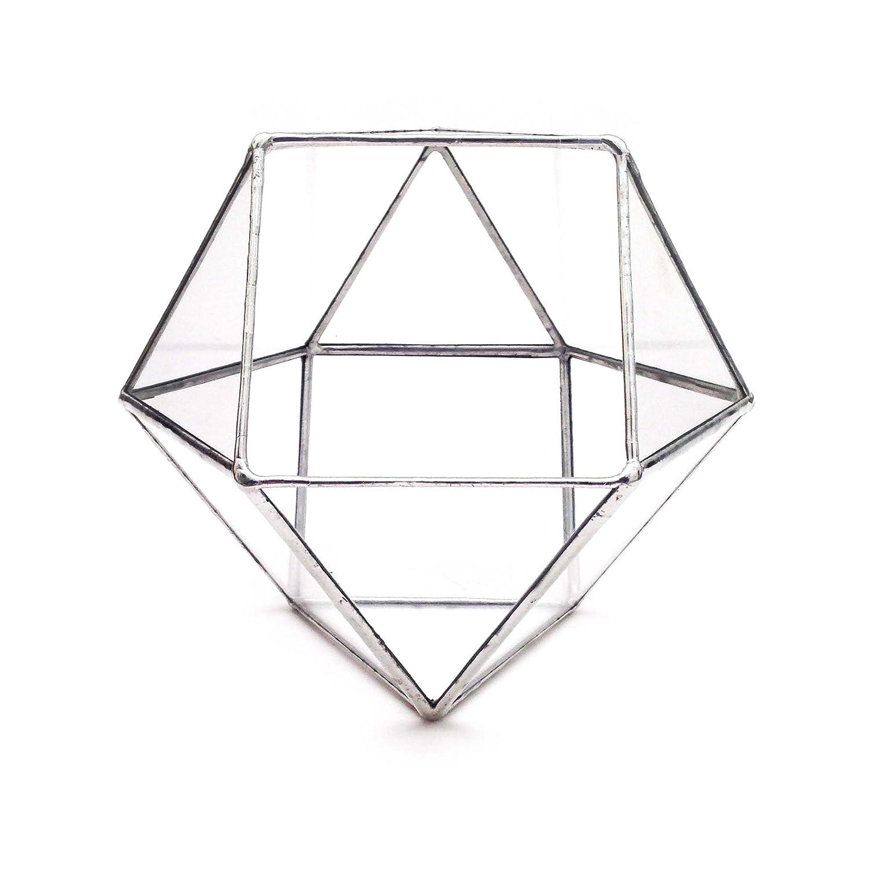Small, Silver Cuboctahedron Terrarium//Geometric Glass Plant Pot//Modern Planter//Handmade in England