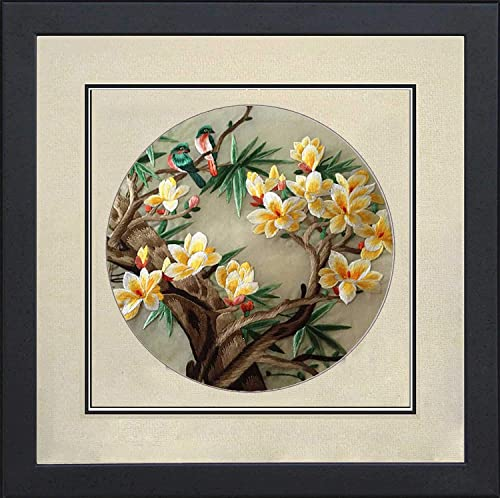 Silk Art 100 Handmade Embroidery Framed Two Love Birds on Yellow Cherry Blossom Trees Chinese Print Wildlife Bird Painting Anniversary Wedding Birthday Party Gifts Oriental Asian Wall Art 35024WF