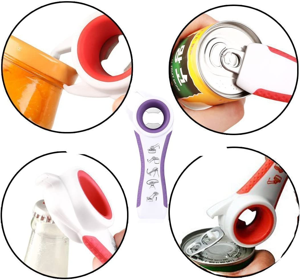 by Huixuan Purple 4 Function Multi Kitchen Gadgets and Tools Plastic Jar Opener
