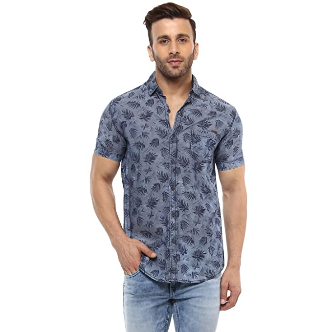 d801ed594d7 Mufti Button Down Printed Grey Half Sleeves Shirt  Amazon.in ...