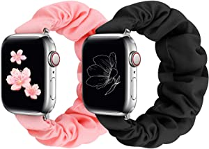 Compatible with Apple Watch Band 38mm 40mm 42mm 44mm, Cute Pattern Printed Scrunchie Apple Watch Band for Women, Bracelet Replacement Wristbands for Apple Watch Series 6 5 4 3 2 1 SE(BP-38/40M)