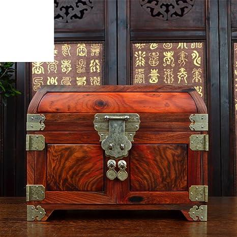 caja de joyería de caoba estilo chino mundo Caja de joyería de boda rojo palo de