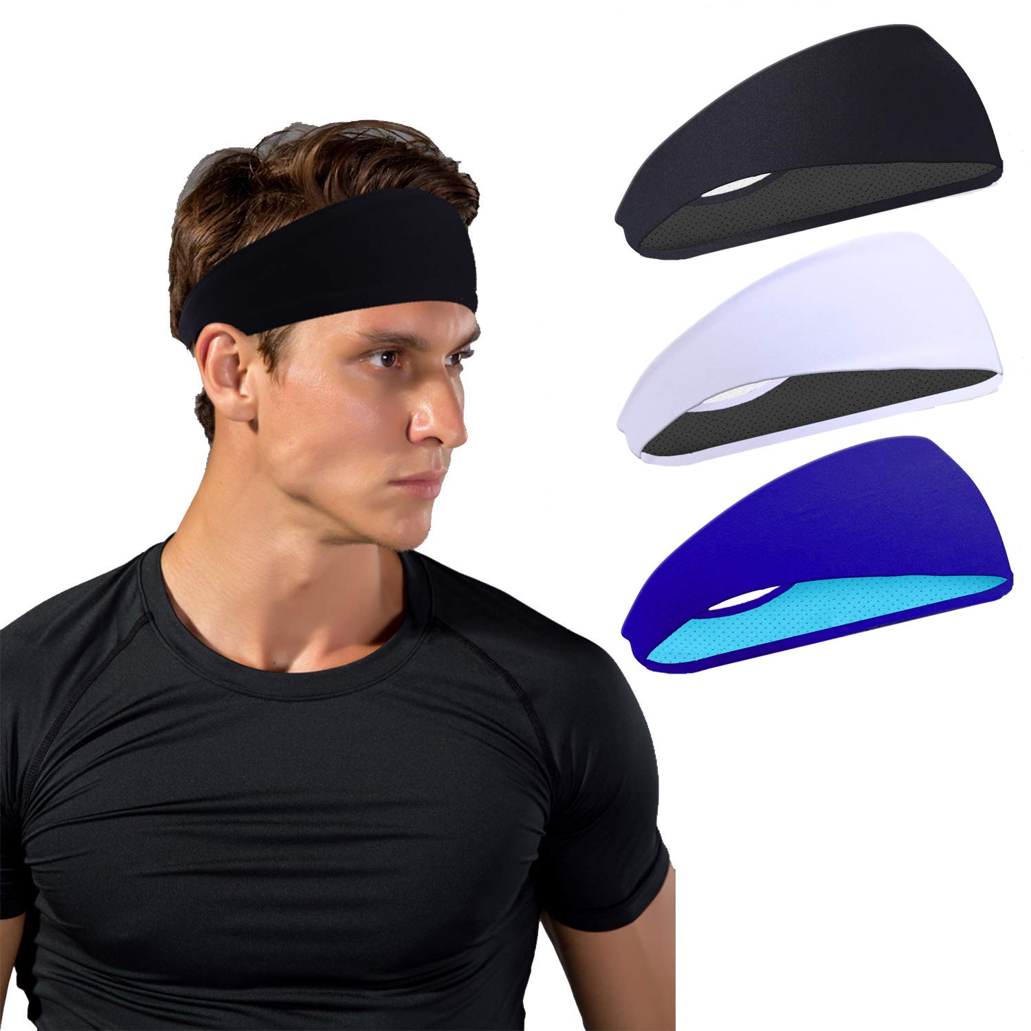 JOEYOUNG Sport Headbands for Men and Women - Mens Headband, Workout Sweatband Headband for Running, Yoga, Fitness, Gym - Performance Stretch/Lightweight (A-3pcs-black+White+ Dark Blue)