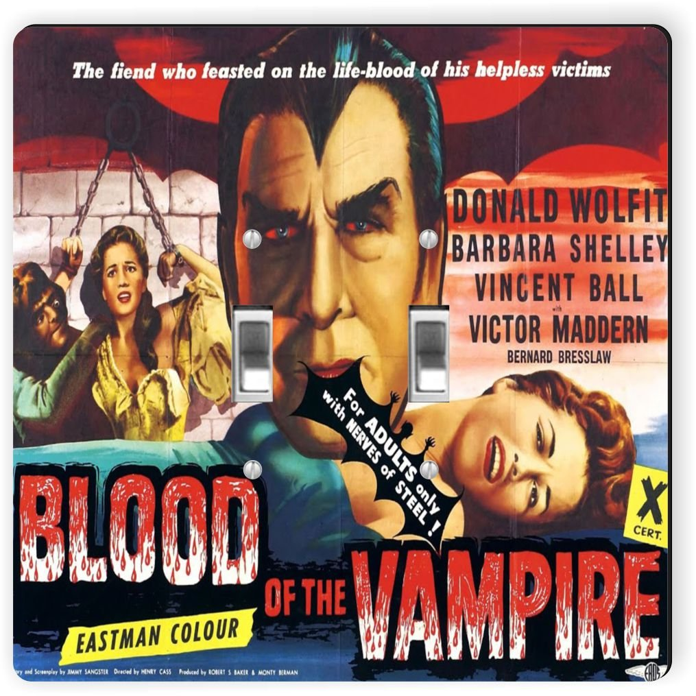 Rikki Knight 3703 Double Toggle Vintage Movie Posters Art Blood of Vampire 3 Design Light Switch Plate