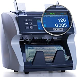Money Cash Bill Counter Machine: Cash VALUE Counting Machine for Multiple Currency and All Bill Denominations: Automatic UV, Magnetic, Infrared Counterfeit Detector - High-Speed Bank Note Value Adding