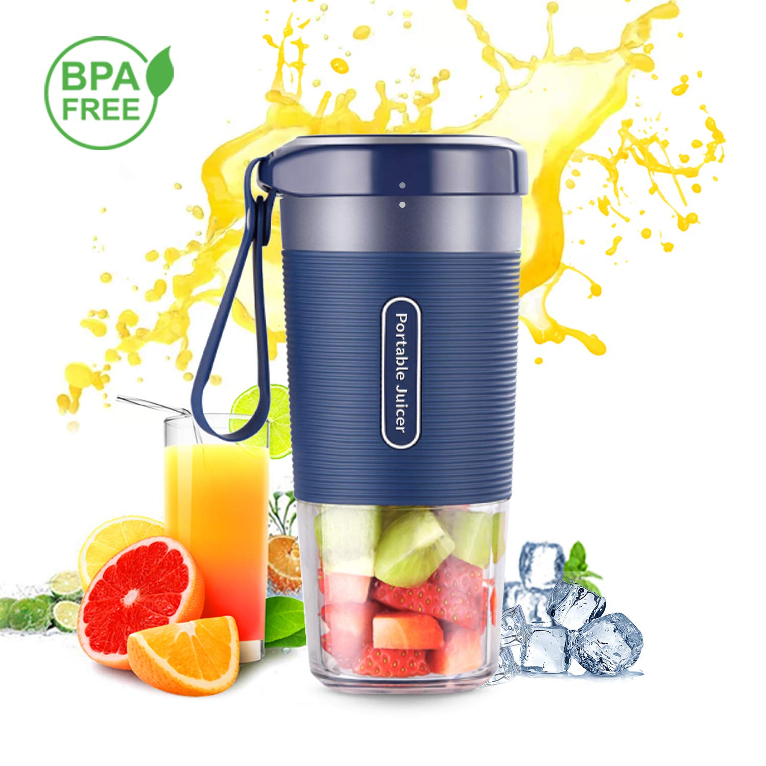 Portable Blender,DOUHE Cordless Mini Personal Blender Small Smoothie Blender USB Fruit Juicer Mixer -Home Outdoor Travel Office - USB Rechargeable,IP68 Waterproof,BPA Free by DOUHE (Image #1)