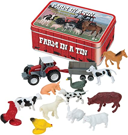 Sheep and More Horse Cow Farm In a Tin Novelty Set with Rooster