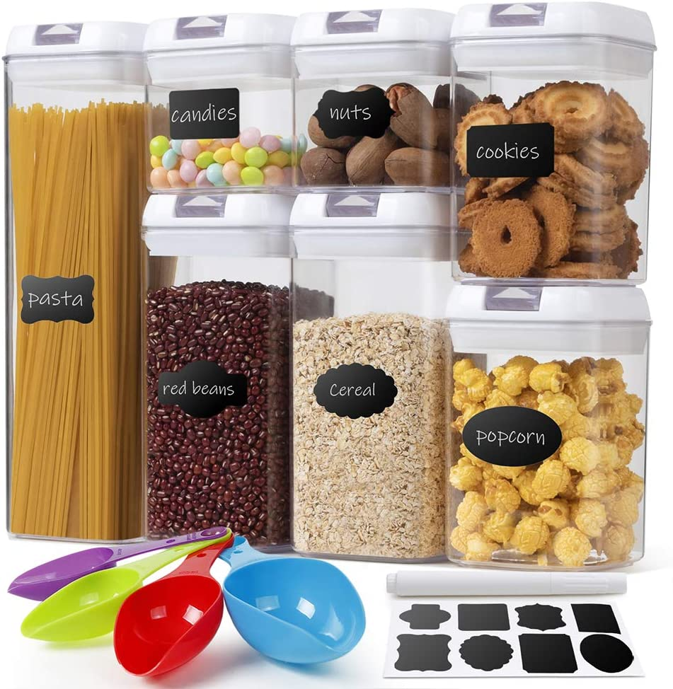 Airtight Food Storage Container with Lids BPA Free - Ticent 7 Pieces Kitchen Pantry Organization and Storage Plastic Large Cereal Containers for Sugar, Flour - with 4 Cups & 24 Labels