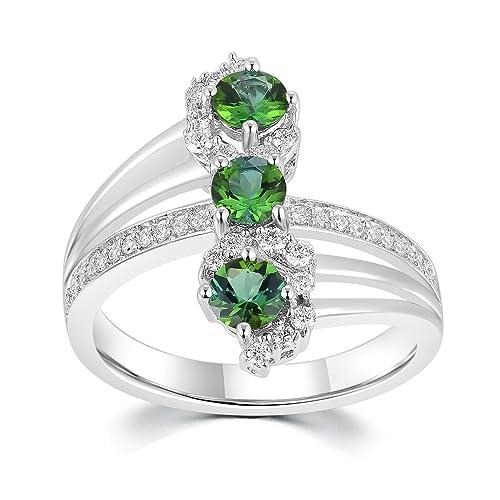 18 quilates 750 oro blanco Triple verde turmalina con diamante anillo de promesa, compromiso,