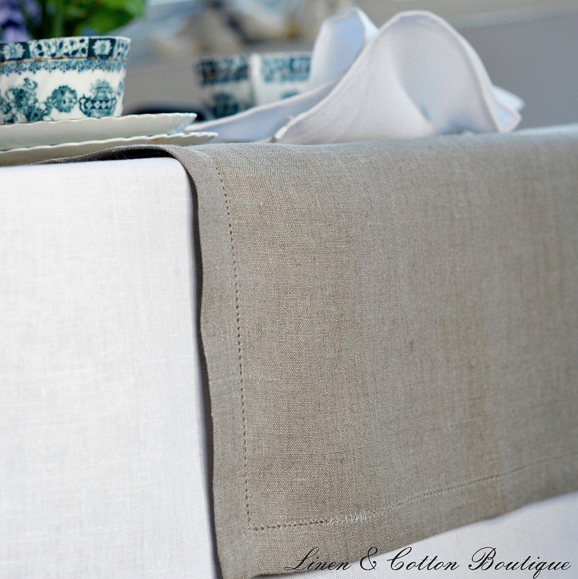 43 x 130cm Beige//Naturale Linen /& Cotton Runner Da Tavolo FLORENCE 100/% Lino