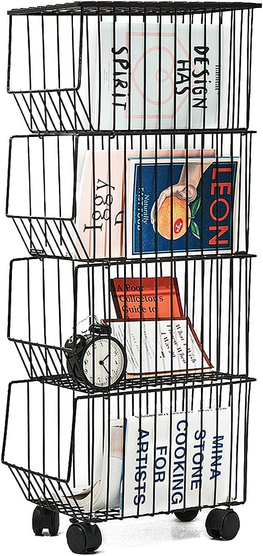 BENOSS Metal Wire Basket with Wheels and Cover,Stackable Rolling Fruit Basket Storage Organizer with Casters, Utility Rack for Kitchen, Pantry, Bathroom, Laundry Room, Garage (4 Layer Baskets)