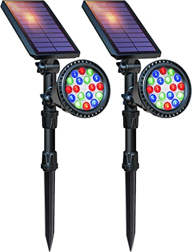 DBF Solar Lights Outdoor, 18 LED Waterproof Solar Landscape Lights Solar Spotlight Color Changing Auto Lock Solar Powered Landscape Lighting for Garden Yard Pathway Pool Decorative, 2 Pack 7 Color