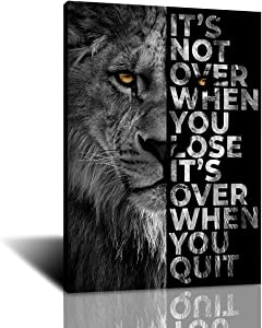 Furtosyna Wild Lion Letter Motivational Quote Art Posters and Prints on Canvas Painting Decorative Wall Art Picture for Office Home Decor (1,20x28 inch-frame)