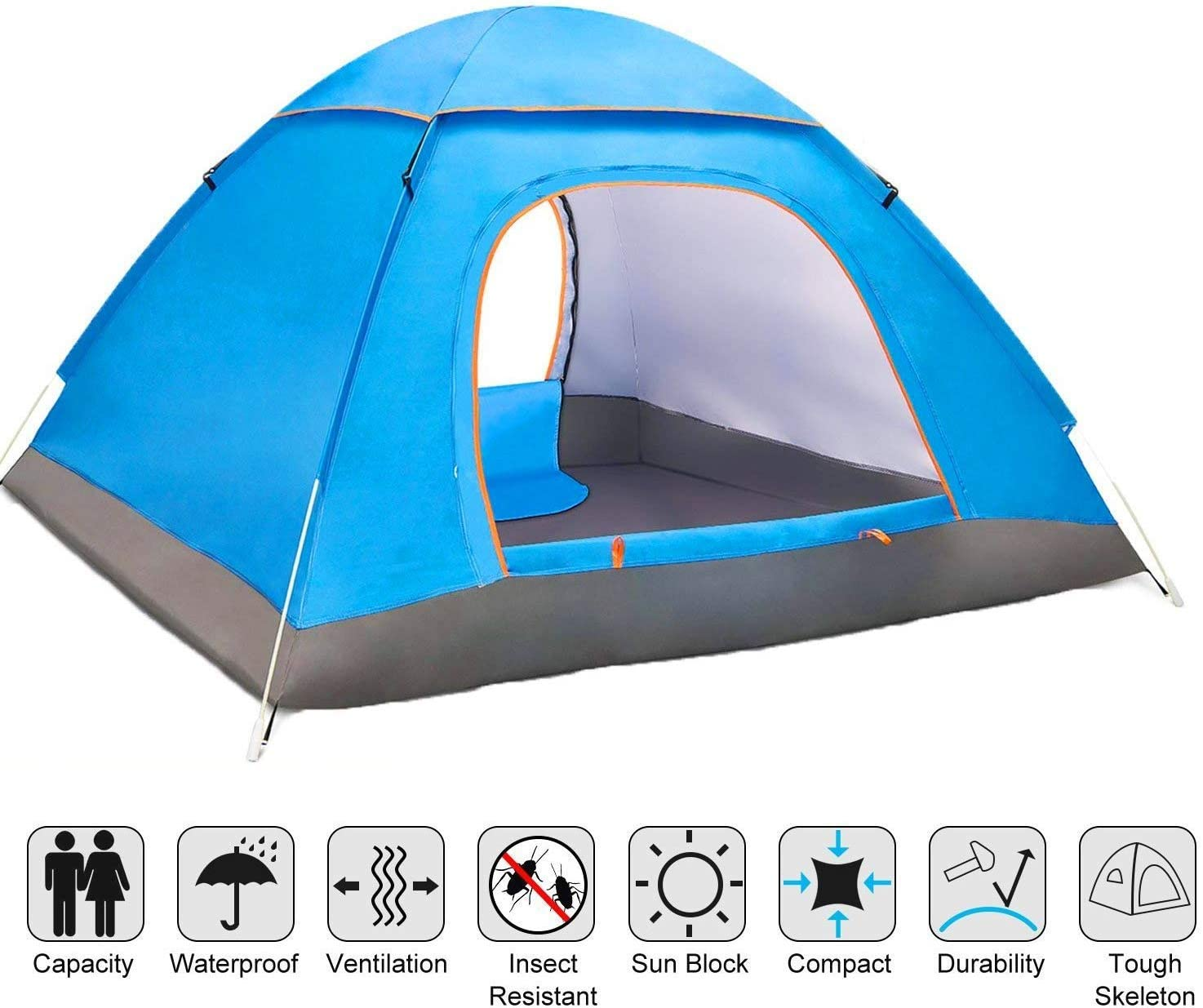 Angker Pop Tent, Instant Pop Up Tent, Large 2 3 Person Man, Backpack Tents, Portable Automatic Tents UV Protection for Outdoor Camping Beach Garden
