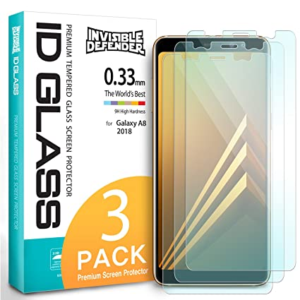Samsung Galaxy A8 2018 Tempered Glass Screen Protector - Invisible Defender  Glass [3-Pack/Case Compatible] Ultimate Clear Shield, High Definition