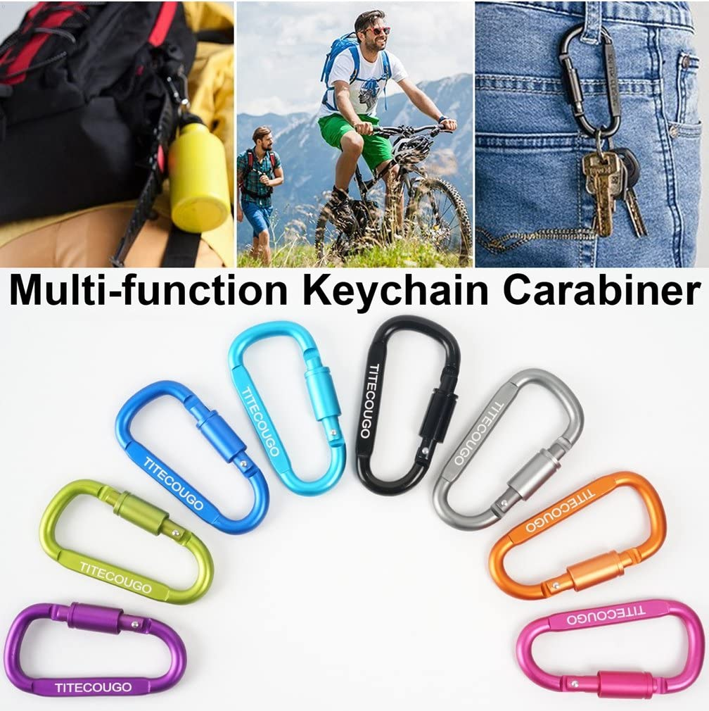 Keychain Snap,Carabiner Hook Chain Aluminum D-ring Locking ...