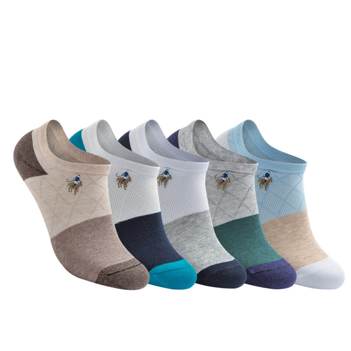 Spikerking Mens Embroidered Mesh Breathe Low Cut Silicone Thin Socks,5 Pack-5 Color