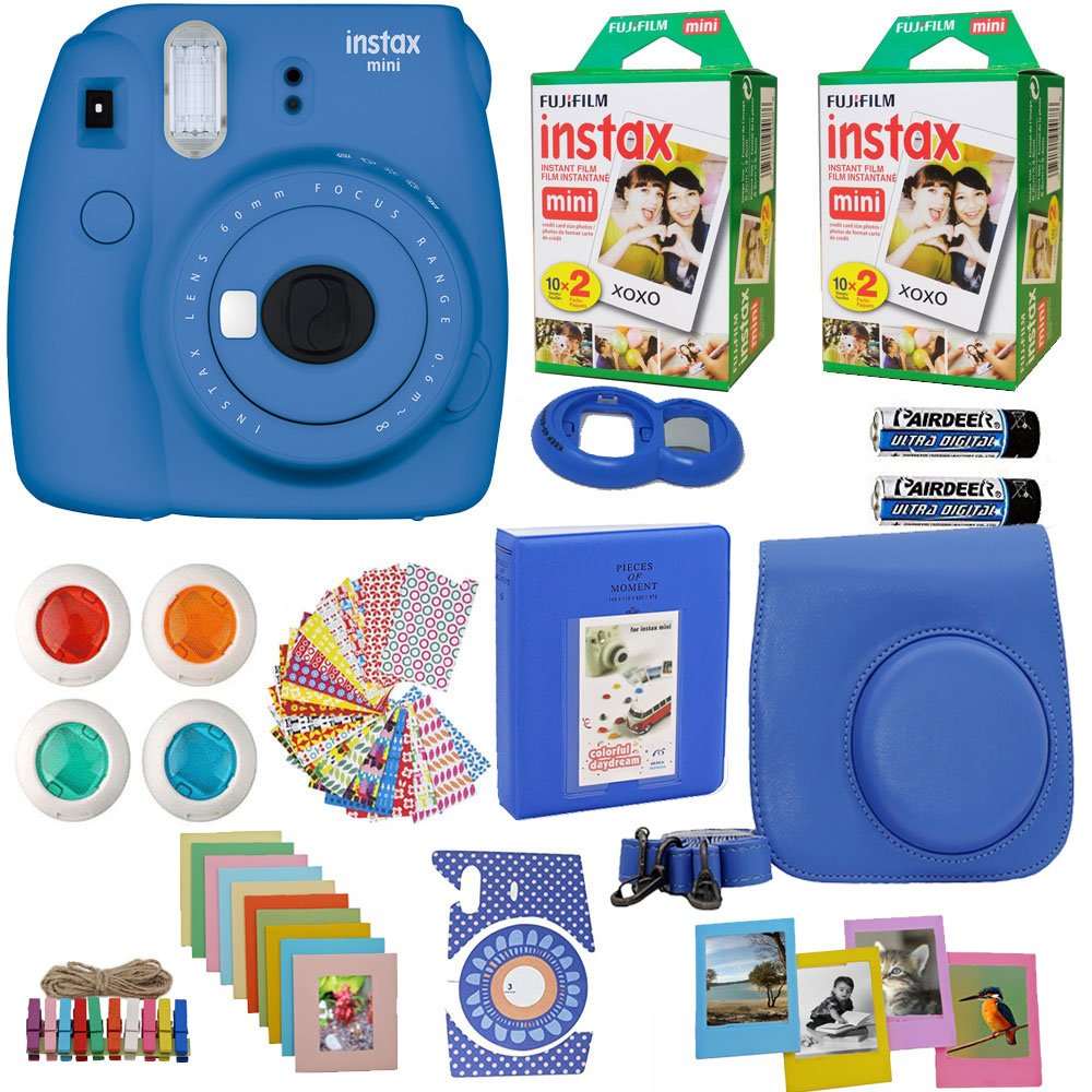 Fujifilm Instax Mini 9 Instant Camera Cobalt Blue + 2x Fuji Instax Film Twin Pack (40PK) + Blue Camera Case + Frames + Photo Album + 4 Color Filters And More Top Accessories Bundle