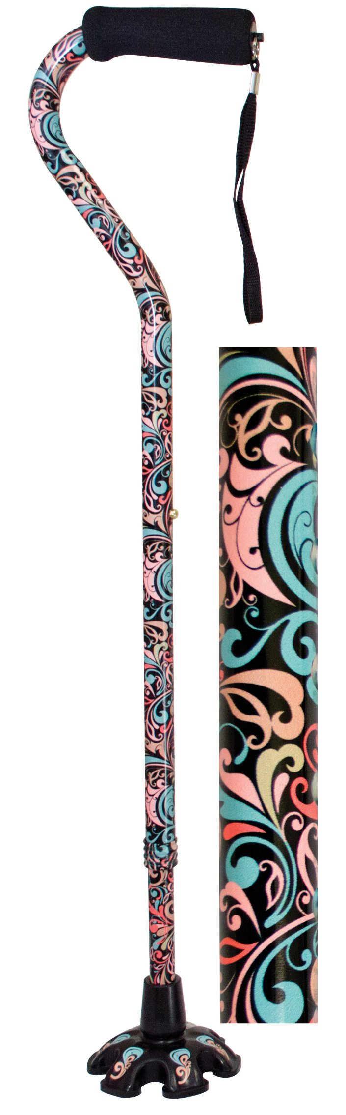 Essential Medical Supply Couture Offset Fashion Cane with Matching Standing Super Big Foot Tip, Celebration Style