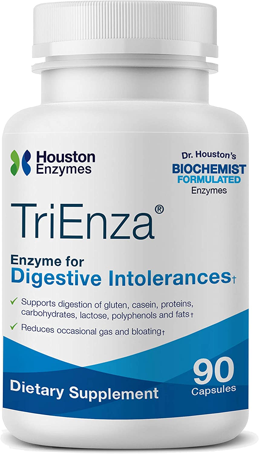 Houston Enzymes TriEnza – 90 Capsules (45 Doses) | Broad-Spectrum Enzymes for Digestive Intolerances | Supports Digestion of Gluten, Casein, Soy, Proteins, Carbohydrates, Sugars, Fats & Polyphenols