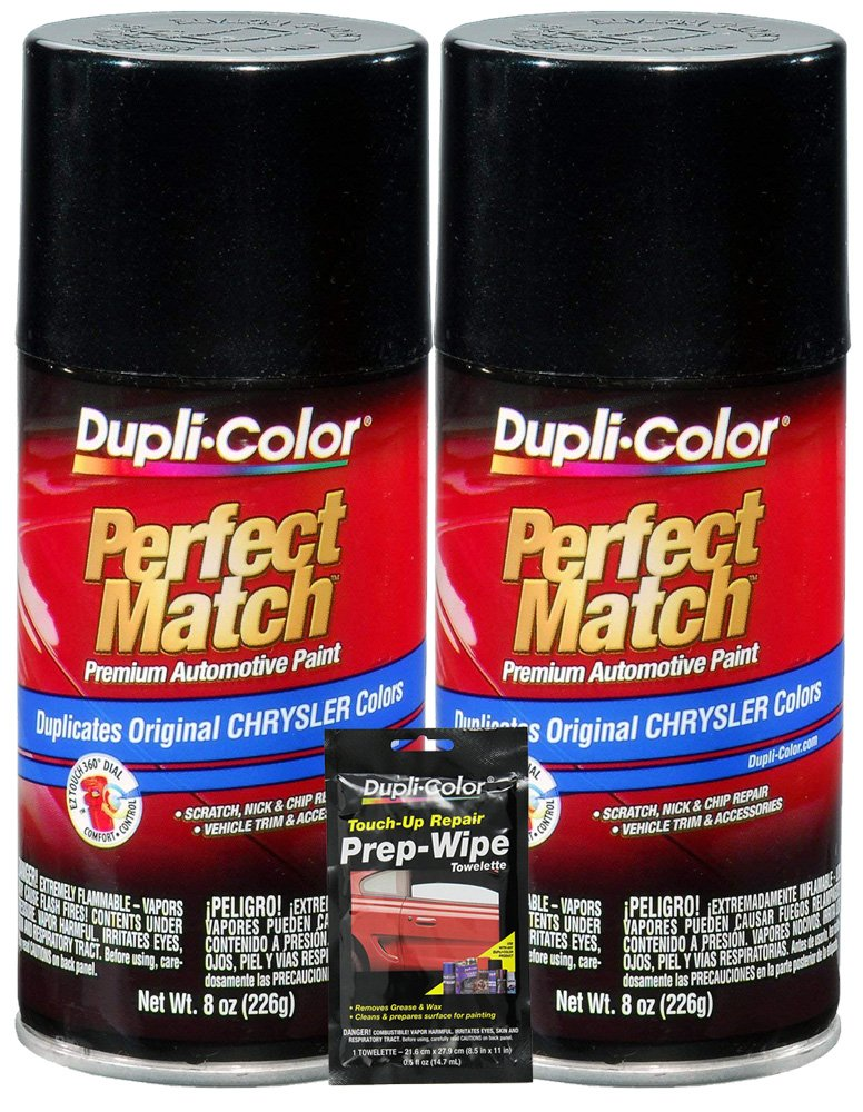 Dupli-Color Brilliant Black Pearl Perfect Match Automotive Paint for Chrysler Vehicles - 8 oz, Bundles with Prep Wipe (3 Items)