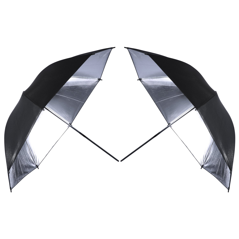 Neewer 2 PCS 33''/84cm Professional Photography Studio Reflective Lighting Black/Silver Umbrella