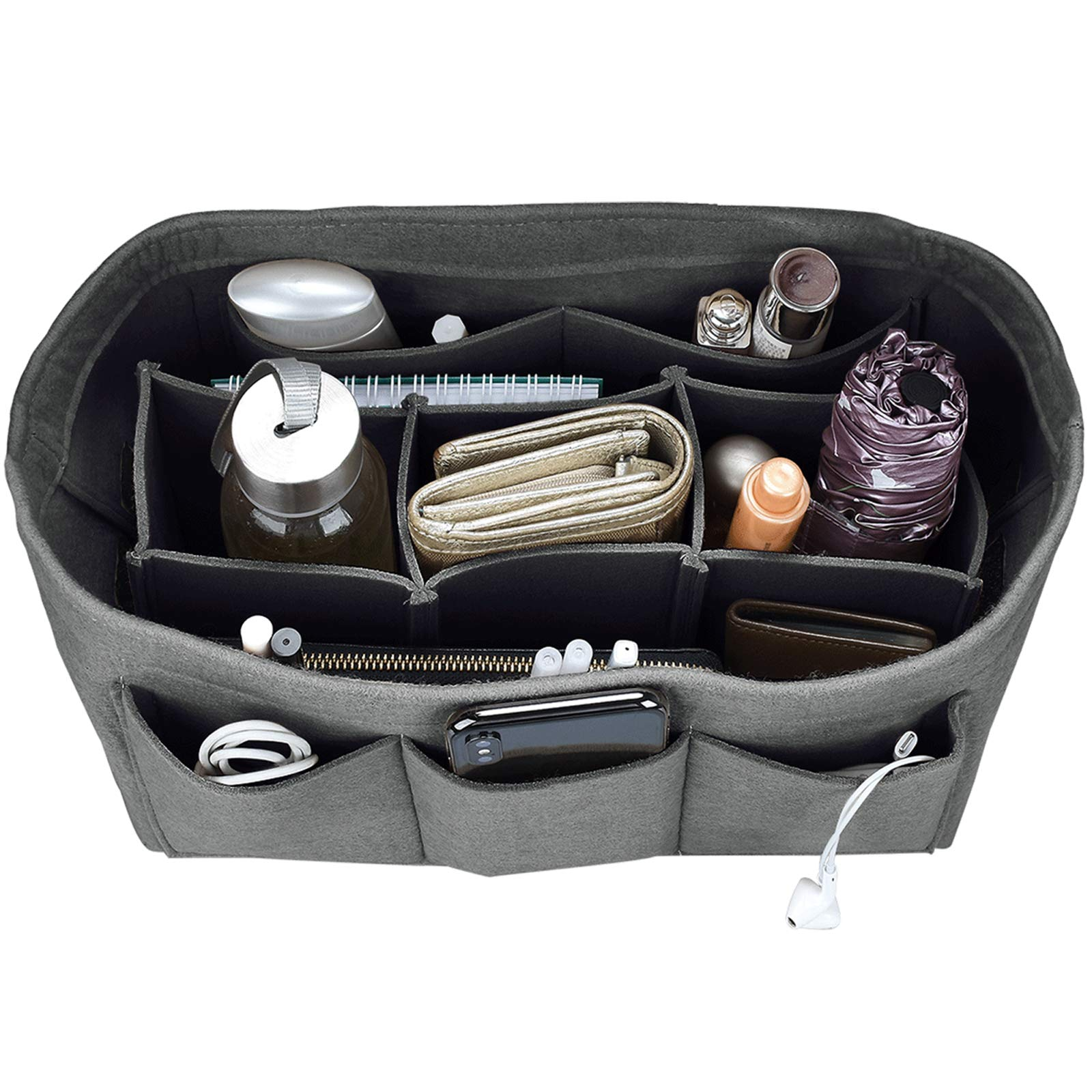 Felt Purse Insert Organizer, Handbag organizer, Bag in Bag for Handbag Purse Tote, Diaper Bag Organizer, Stand on Its Own, 12 Compartments, 4 Sizes (X-Large, Gray)