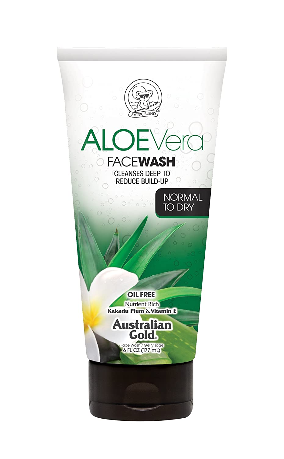 Australian Gold Daily Moisturizing Face Wash, Cleans Deep & Reduces Buildup, Normal To Dry Skin, Aloe Vera, 6 Ounce