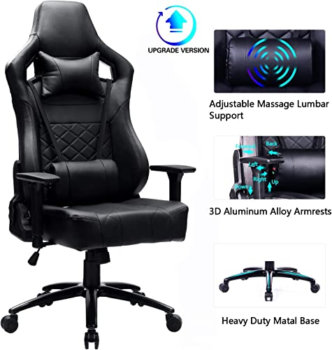 Blue Whale Big and Tall Gaming Chair with Massage Lumbar Support