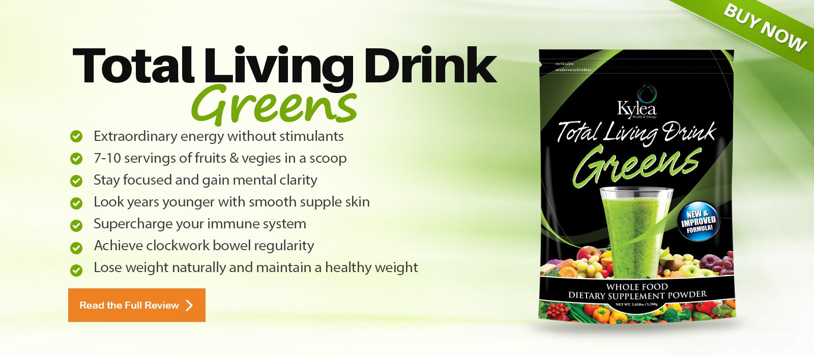Total Living Drink Greens Superfood Powder - (2.65 lbs bag, 30 servings, 60 ingredients) - Enzymes, Antioxidants, Herbs, Probiotics, Vitamins and Minerals.