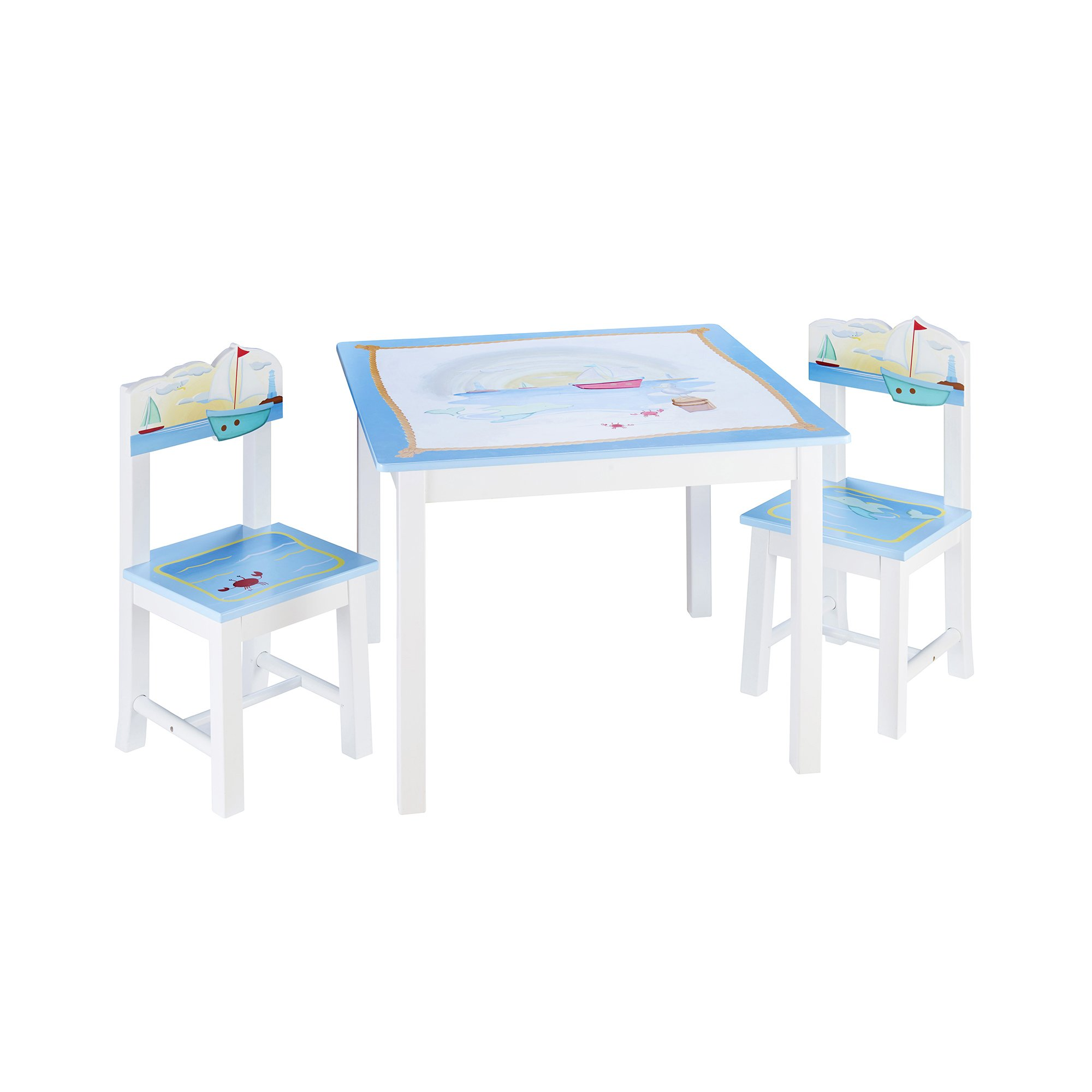Guidecraft Wood Hand-painted Sailing Table & Chairs Set - Kids Study & Activity Table - Preschool Furniture