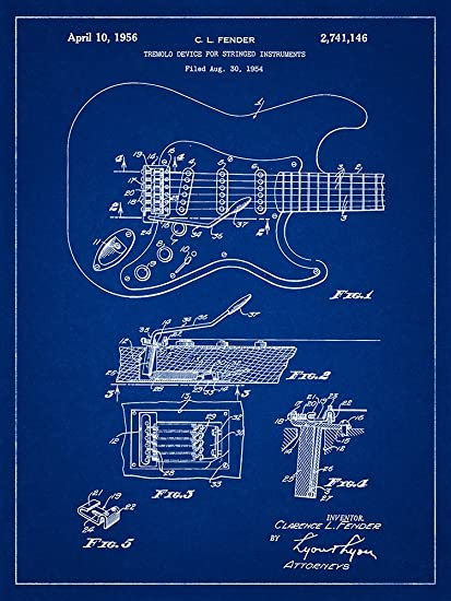 Amazon fender stratocaster guitar patent blueprint style art fender stratocaster guitar patent blueprint style art print 12x16 inch malvernweather Images