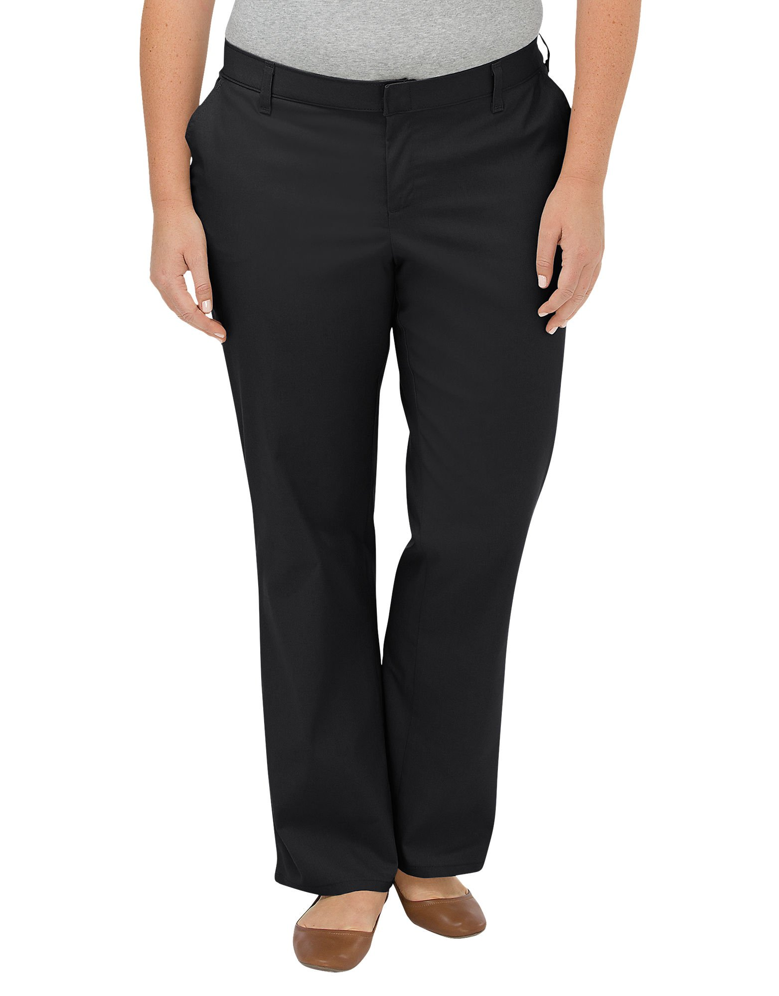 Dickies Women's Plus-Size Wrinkle-Resistant Flat Front Twill Pant with Stain Release Finish
